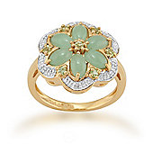 Gemondo Gold Plated Silver 1.87ct Jade, 0.13ct Peridot & 3pt Diamond Flower Ring