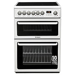 Hotpoint HAE60PS, Freestanding Electric Cooker, 60cm, White, Twin cavity, Double Oven