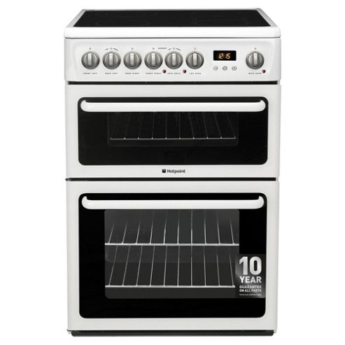 Hotpoint Electric Cooker with Electric Grill and Ceramic Hob, HAE60P S - White