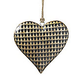Parlane Woodern Hanging Heart With Mini Black Heart Pattern - 10cm x 10cm