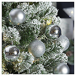 Christmas Baubles, Silver, 6 pack