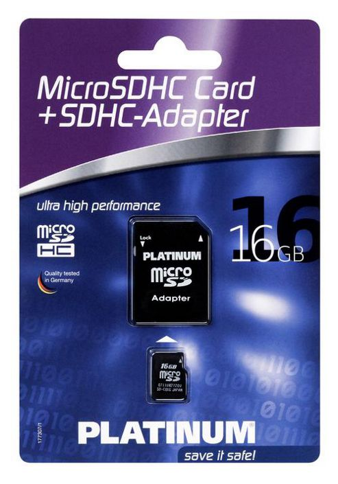 Platinum Micro SDHC 4GB Cl4 Card with Adapter