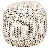 Kaikoo Chunky Knit Bean Bag Cube, Natural