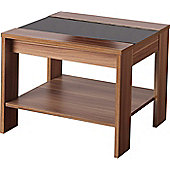 Home Essence Hollywood Shearwater Lamp Table in Walnut Veneer and Black Gloss