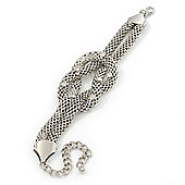 Chunky Rhodium Plated Mesh Chain 'Knot' Bracelet With Clear Crystals - 18cm (8cm Extension)