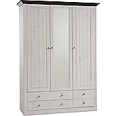 Home Essence Riviera 3 Glazed Door 4 Drawer Wardrobe