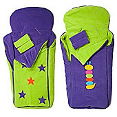 Cozyosko BuggyBag Footmuff (Lime Stars/Purple Caterpillar)
