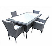 Cambridge 4 Non-Reclining Chairs And Large Rectangular Table Set in Black and Vanilla