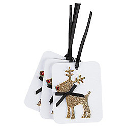 Glitter Reindeer Luxury Christmas Gift Tags, 3 pack