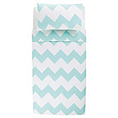 Tesco Basic chevron print duvet set SB spearmint