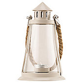 Metal And Glass Lantern With Rope Handle, Cream