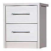 Alto Furniture Avola 2 Drawer Bedside Table - Cream Carcass With White Avola