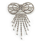 Enchanting Diamante Bow Charm Brooch (Silver Tone)