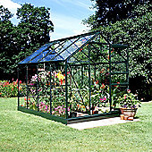 Halls Popular Greenhouse – 6x8 - Forest Green Finish + Base + Rhino Ventilation Bundle – Toughened Glass