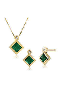 Gemondo 9ct Yellow Gold Emerald & Diamond Stud Earring 45cm Necklace Set