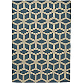 Think Rugs Hong Kong Teal/Beige Tufted Rug - 80 cm x 150 cm (2 ft 8 in x 4 ft 11 in)