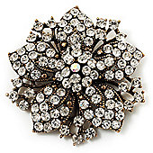Victorian Corsage Flower Brooch (Antique Gold & Clear)