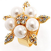Gold Petal Faux Pearl Ring
