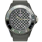 Tresor Paris Watch 018788 - Stainless Steel Bezel - Silicone Strap - Diamond Set Dial - 44mm - Grey