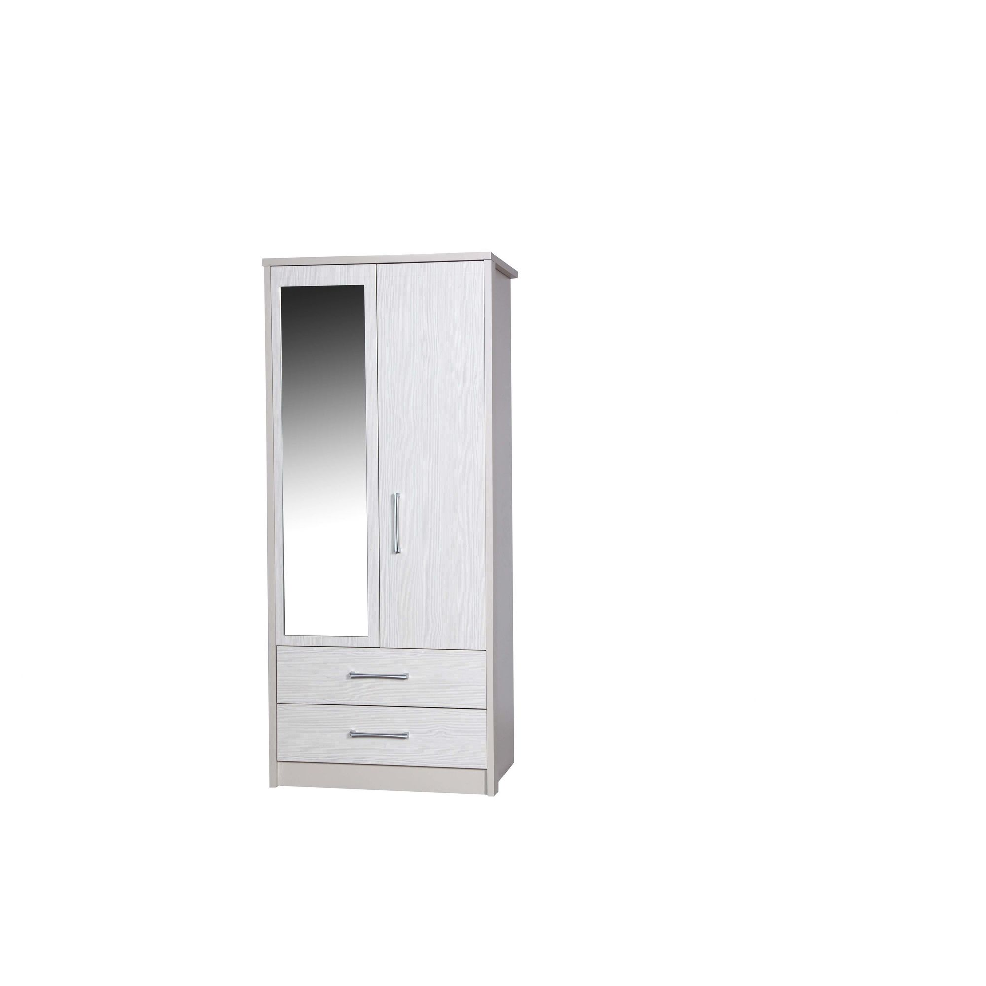 Alto Furniture Avola 2 Drawer Combi Wardrobe with Mirror - Cream Carcass With White Avola at Tescos Direct