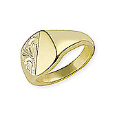 Jewelco London 9ct Yellow Gold - Half-Engraved Cushion Stamped Signet Ring - Size X