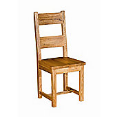 Kelburn Furniture Bordeaux Ladderback Chair with Wooden Seat in Medium Oak Stain and Satin Lacquer (Set of 2)