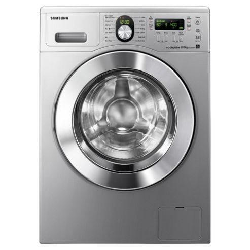 Samsung WF1804WPU2/XEU Ecobubble Washing Machine, 8kg Wash Load, 1400 RPM Spin, A++ Energy Rating. Silver