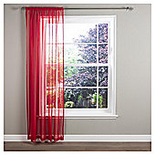 "Crystal Voile Slot Top Curtains W147xL137cm (58x54""), Red"