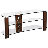 TNW Vision Curve 1200 Walnut and Clear Glass TV Stand