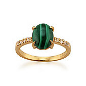 Gemondo Gold Plated Sterling Silver 2.21ct Malachite & 0.12ct White Topaz Ring