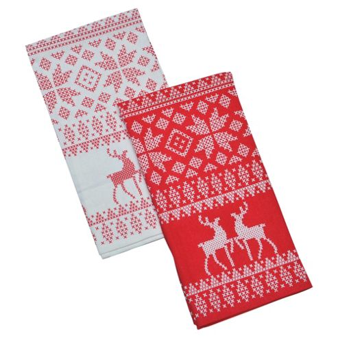 Tesco Scandi Tea Towel Red & Cream 2 Pack