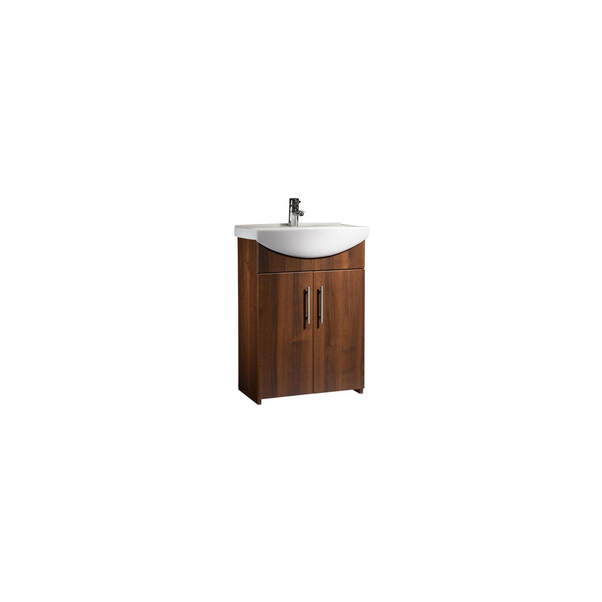 Tavistock Opal Walnut Floor Standing Cabinet and Basin - 1 Tap Hole - 600mm Wide