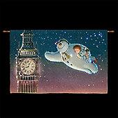 The Snowman, Billy & Snowdog Fly around Big Ben Illuminated Tapestry