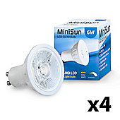 Pack of 4 Dimmable 6W COB LED GU10 Bulbs in Cool White