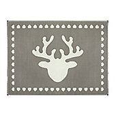 Lorena Canals Reno Reindeer Grey Children's Rug - 120 cm W x 160 cm D (3 ft 11 in x 5 ft 3 in)