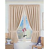 Dreams and Drapes Norfolk 3 Pencil Pleat Blackout Lined Curtains 66x72 inches (168x183cm) - Beige