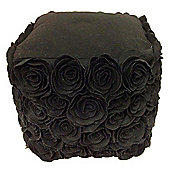 3D Flower Pouffe Black
