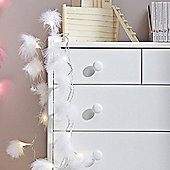 White Fluffy Feather Indoor LED Fairy Lights