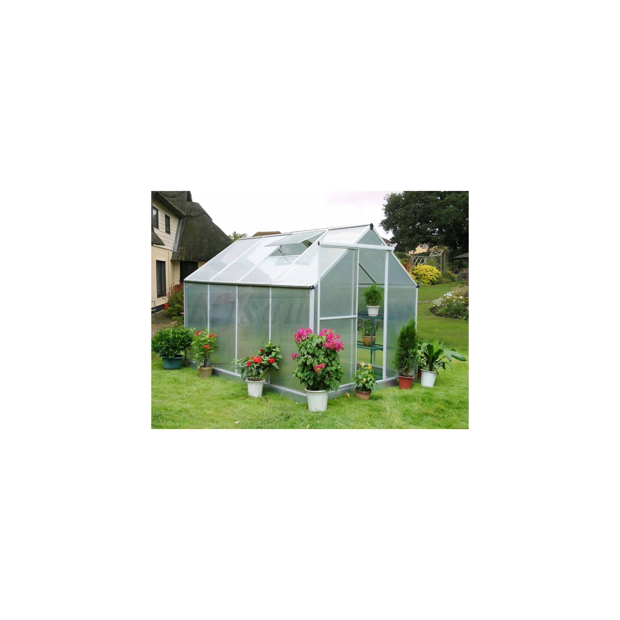 Nison Aquila 8x6 Aluminium Polycarbonate Greenhouse, Including Base & Free Shelving at Tesco Direct