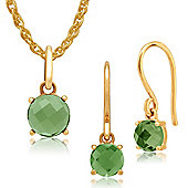 Amour Damier 9ct Yellow Gold Peridot Drop Earrings & 45cm Necklace Set by Gemondo