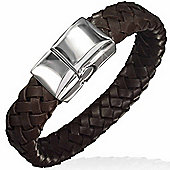 Urban Male Flat Plaited Genuine Dark Brown Leather Magnetic Bracelet