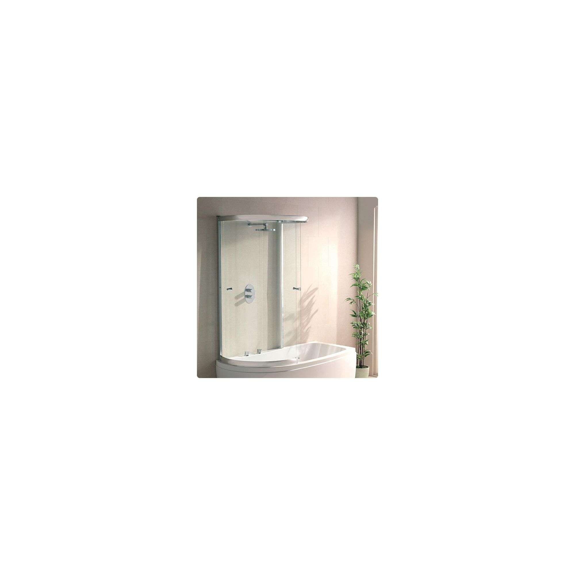 Duchy SOPHIA Curved Showerbath Bath Panel with Extending Sliding Door inside Enclosure Style Frame LEFT HANDED with Silver Profile at Tesco Direct