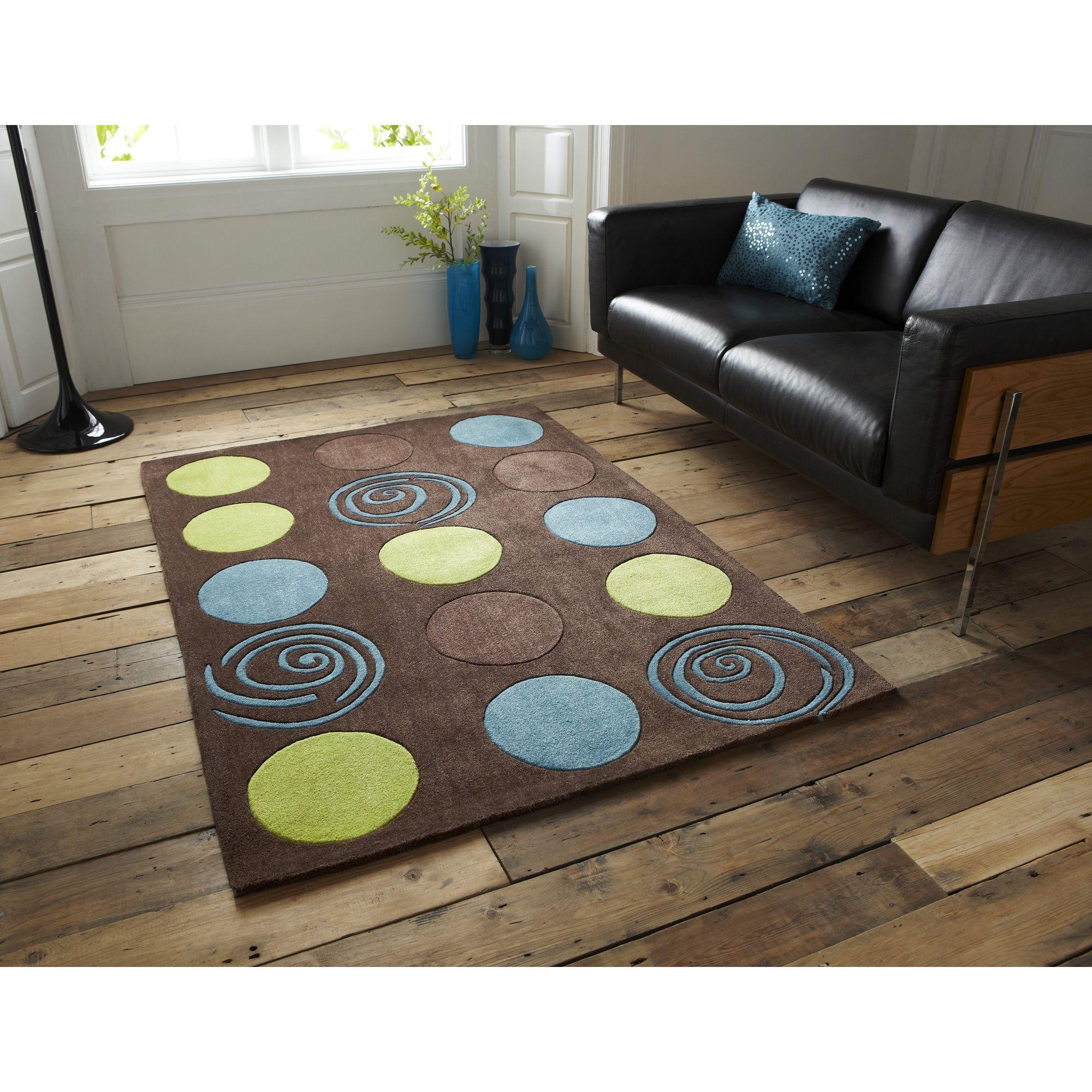Oriental Carpets & Rugs Hong Kong Brown/Blue/Green Tufted Rug - 150cm L x 90cm W