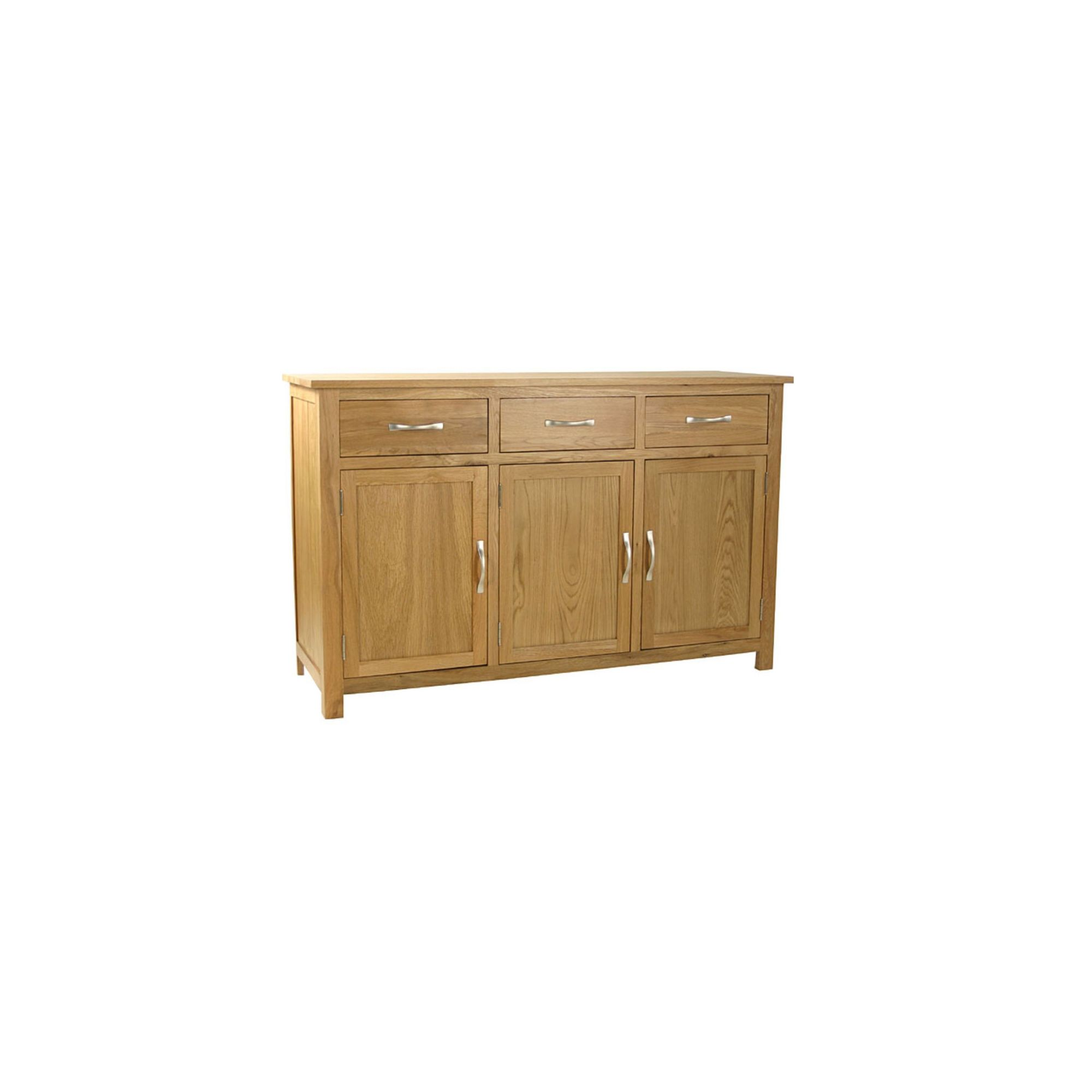 Kelburn Furniture Essentials 3 Drawer Sideboard in Light Oak Stain and Satin Lacquer at Tesco Direct