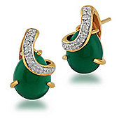 Gemondo Gold Plated Sterling Silver 2.83ct Chalcedony & 3pt Diamond Stud Earrings