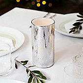 Speckled Silver Glass Battery LED Candle