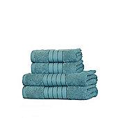 Dreamscene 100% Egyptian Cotton 4 Piece Hand Bath Towel Set - Teal