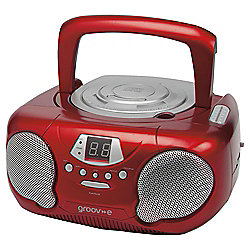 Groov-E Boombox Portable CD Player with AM/FM Radio Red