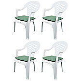 Pack of 4 Garden Chair Cushions - Fits Resol Palma / Cool - Green