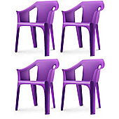 "Resol ""Cool"" Garden Outdoor / Indoor Designer Plastic Chairs - Purple - x4"